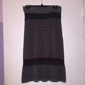 Grey charcoal purple knit midi skirt